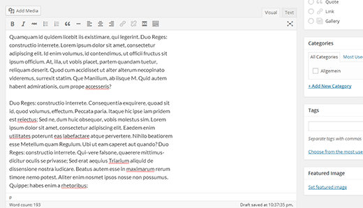editor contenidos wordpress 4.0